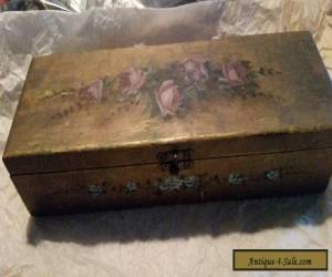 Antique Wooden Box Hand Painted for Sale