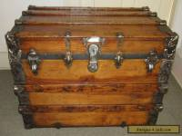 ANTIQUE STEAMER TRUNK VINTAGE VICTORIAN LARGE FLAT TOP WOODEN TRAVEL CHEST C1890