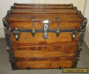 ANTIQUE STEAMER TRUNK VINTAGE VICTORIAN LARGE FLAT TOP WOODEN TRAVEL CHEST C1890 for Sale