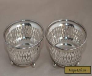 Antique Pair of GORHAM Sterling Silver Pierced Bowls on 3 Feet: 75g c1908 for Sale