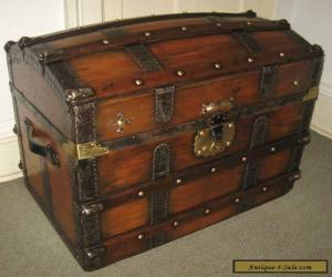 ANTIQUE STEAMER TRUNK VINTAGE VICTORIAN DOME TOP BRIDES STYLE STAGECOACH CHEST for Sale
