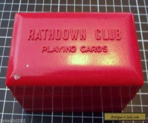 "BAKELITE 'RATHDOWN CLUB"" PLAYING CARD BOX - DOUBLE - BRIGHT RED for Sale"