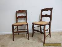 Pair Antique Victorian Carved Faux Grain Painted Cain Bottom side Desk Chairs