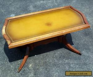 Antique Vintage Mersman Leather Top Coffee Table with Gold Trim  for Sale
