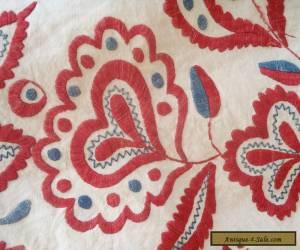 Tablecloth Folk Art Hand Embroidered Vintage Antique Hungarian ? Austrian? Linen for Sale