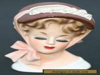 RARE VINTAGE Pottery Lady Head Vase LEFTON ? 7 Inch Brinns Tv-726 ?