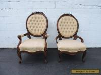 Pair of Victorian Carved Living Room His and Hers Side Chairs 6986