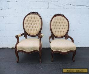 Pair of Victorian Carved Living Room His and Hers Side Chairs 6986 for Sale