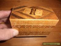 vintage wooden playing card box with inlay