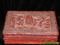 "VINTAGE CHINESE CARVED CINNABAR LACQUER LIDDED BOX RECTANGULAR 5 1/2"" X 3 3/4"""