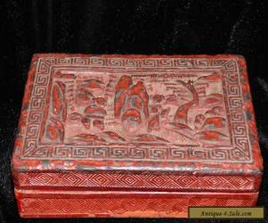 "VINTAGE CHINESE CARVED CINNABAR LACQUER LIDDED BOX RECTANGULAR 5 1/2"" X 3 3/4"" for Sale"