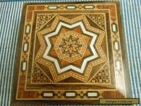 STUNNING INLAID DECORATED TRINKET BOX/Marquetry /MOTHER OF PEARL