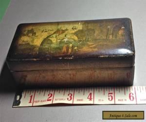 "6"" ANTIQUE WOODEN BOX UNIQUE INTERIOR AND HINGES for Sale"