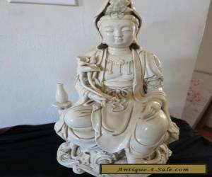 LARGE DEHUA GUAN YIN KWAN-YIN STATUE SIGNED for Sale