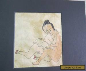Shunga Chinese art Qing dynasty around 1870 hand painted on silk 12cm x 15cm for Sale