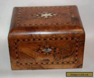 Antique 19c Domed Inlaid Walnut Sewing Box For Restoration for Sale