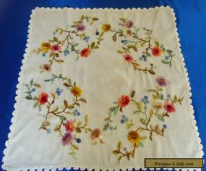 Stunning Antique Vintage Hand Embroidered Floral Tablecloth Berlin Woolwork Rare for Sale