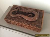 Vintage Antique CHINESE CARVED WOODEN DRAGON Cigar / Jewellery BOX