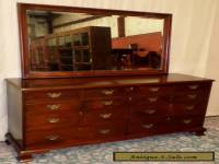 CRAFTIQUE MAHOGANY DRESSER With Mirror Triple 10 Drawer Chest VINTAGE