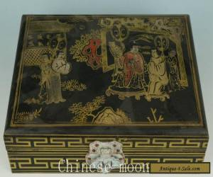 Ancient Asian Chinese Old Wooden Hand Painting Lacquer Personage Statue Boxes  for Sale