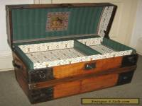 ANTIQUE STEAMER TRUNK VINTAGE VICTORIAN RUSTIC WOODEN FLAT TOP CHEST C1890