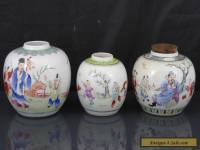 Three Antique Chinese 19th C Famille Rose Scholars Tea Caddys / Jars - Signed