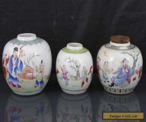 Three Antique Chinese 19th C Famille Rose Scholars Tea Caddys / Jars - Signed for Sale