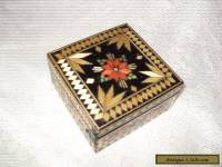 antique unusual inlaid wooden box