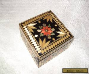 antique unusual inlaid wooden box for Sale