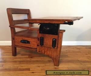 RARE Child's Antique School Desk Chair wood metal Mission Flamed Oak Very Small for Sale