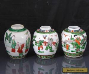 Three Antique Chinese 19th C Famille Verte Tea Caddys / Jars - Signed for Sale