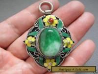 Antique Chinese Silver & Enamel Mosaic Jadeite jade PendantAAA