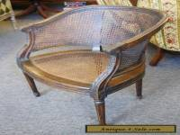 Vintage French Bergere Louis Xv Style Mahogany Caned Barrel Chair Acanthus Seat