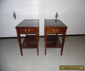 "Pair Vintage ""Mersman"" Mahogany Bed Side End Accent Table Drawer Shelf for Sale"