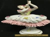 Antique Dresden porcelain lace figurine ballerina dancer V13566