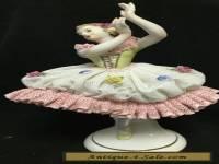 Antique Dresden porcelain lace figurine ballerina dancer V13566
