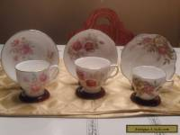 Three English bone china teacups and saucers - subtle pinks & beiges