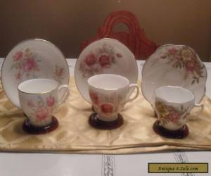 Three English bone china teacups and saucers - subtle pinks & beiges for Sale
