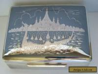 Siam Sterling Silver Wood Lined Box Vintage