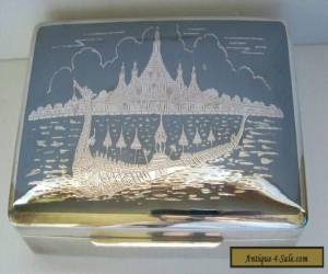 Siam Sterling Silver Wood Lined Box Vintage for Sale