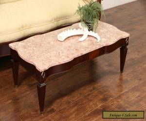 Rose Marble & Mahogany 1950's Vintage Coffee Table for Sale