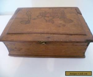 An antique/ vintage wooden, book shaped box for jewellery, etc for Sale