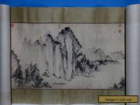 Very Long Old Chinese Scroll Hand Painting Landscape Handwriting Marks WJ132