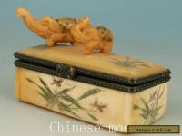 Asian Chinese Old Handmade Carved Elephant Collect Statue Snuff Jewel Box Orname