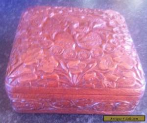 VINTAGE WOODEN BOX WITH GREAT CARVED DESIGN  for Sale