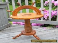 ANTIQUE CARVED WOOD ROPE SHIP WHEEL SMOKING STAND TABLE