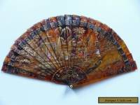 SUPERB & RARE 19th CENTURY CHINESE CANTONESE TORTOI. GILDED PAINTED FAN