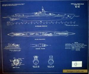 German submarine U-94 type VIIC U-boat Blueprint Plan 20x22  (213) for Sale