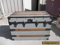 ANTIQUE SLAT FLAT TOP STEAMER TRUNK STAGE COACH CHEST COFFEE TABLE