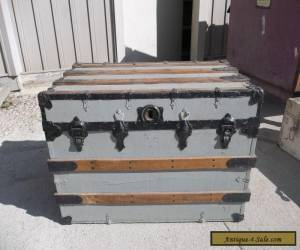 ANTIQUE SLAT FLAT TOP STEAMER TRUNK STAGE COACH CHEST COFFEE TABLE for Sale